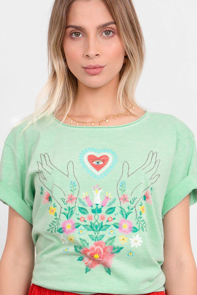 Camiseta T-shirt Menta Touch Bordado