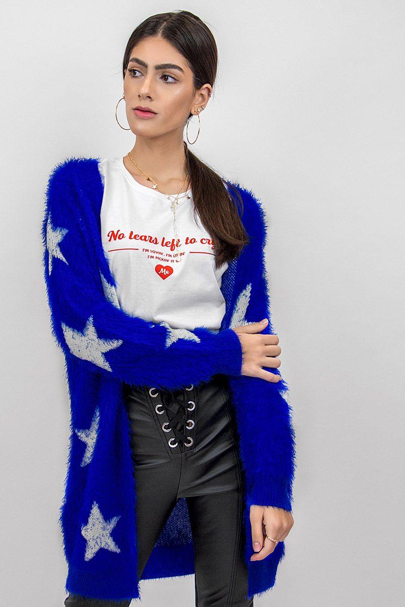 Casaco Tricot Peluciado Estrelas Azul