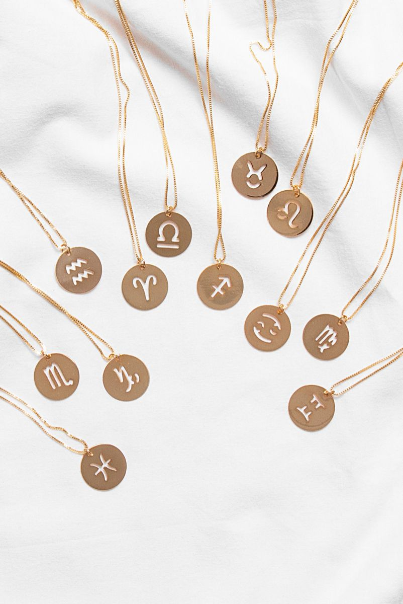 Colar Longo Simbolo Signos - Dourado