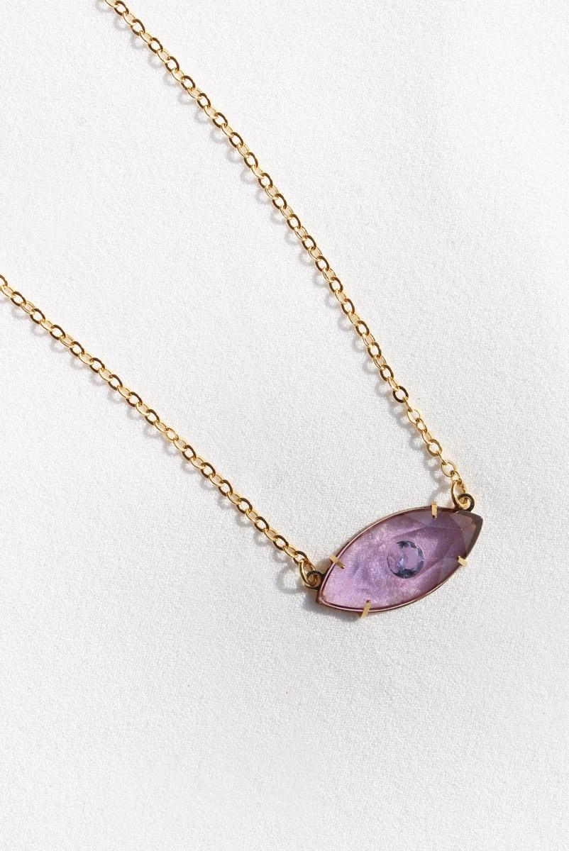 Colar Pedra Olho Lilac