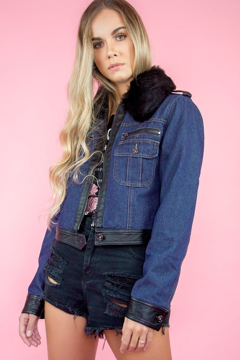 Jaqueta Jeans w/ Fake FUR