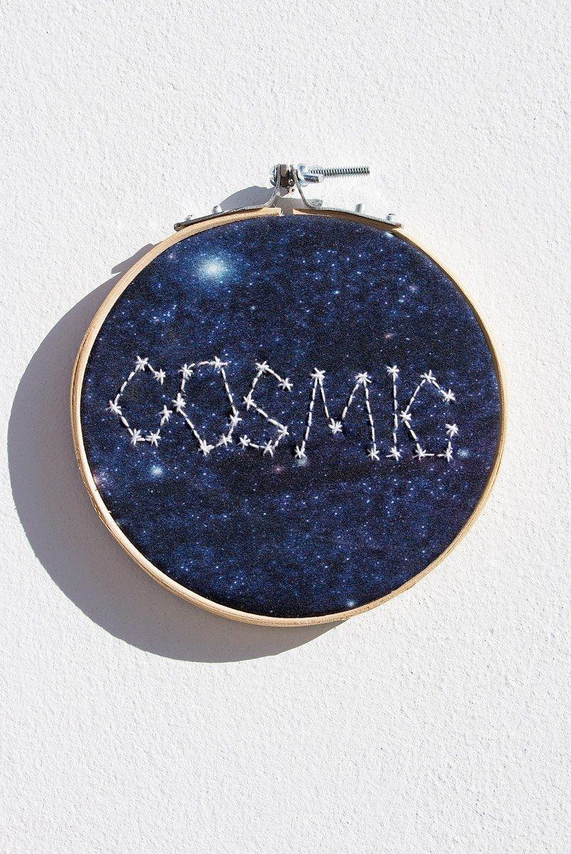 Quadrinho Bordado Decor Cosmic