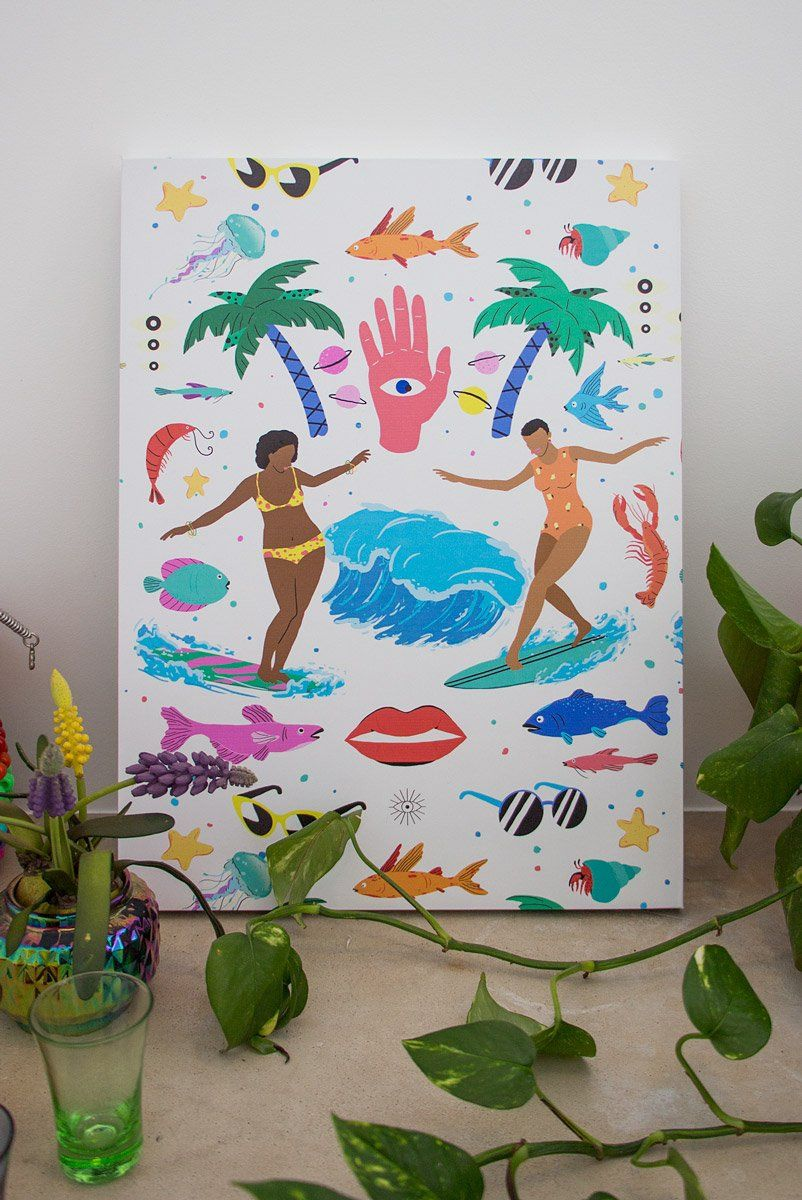 Quadro Decor Girls Surf Too