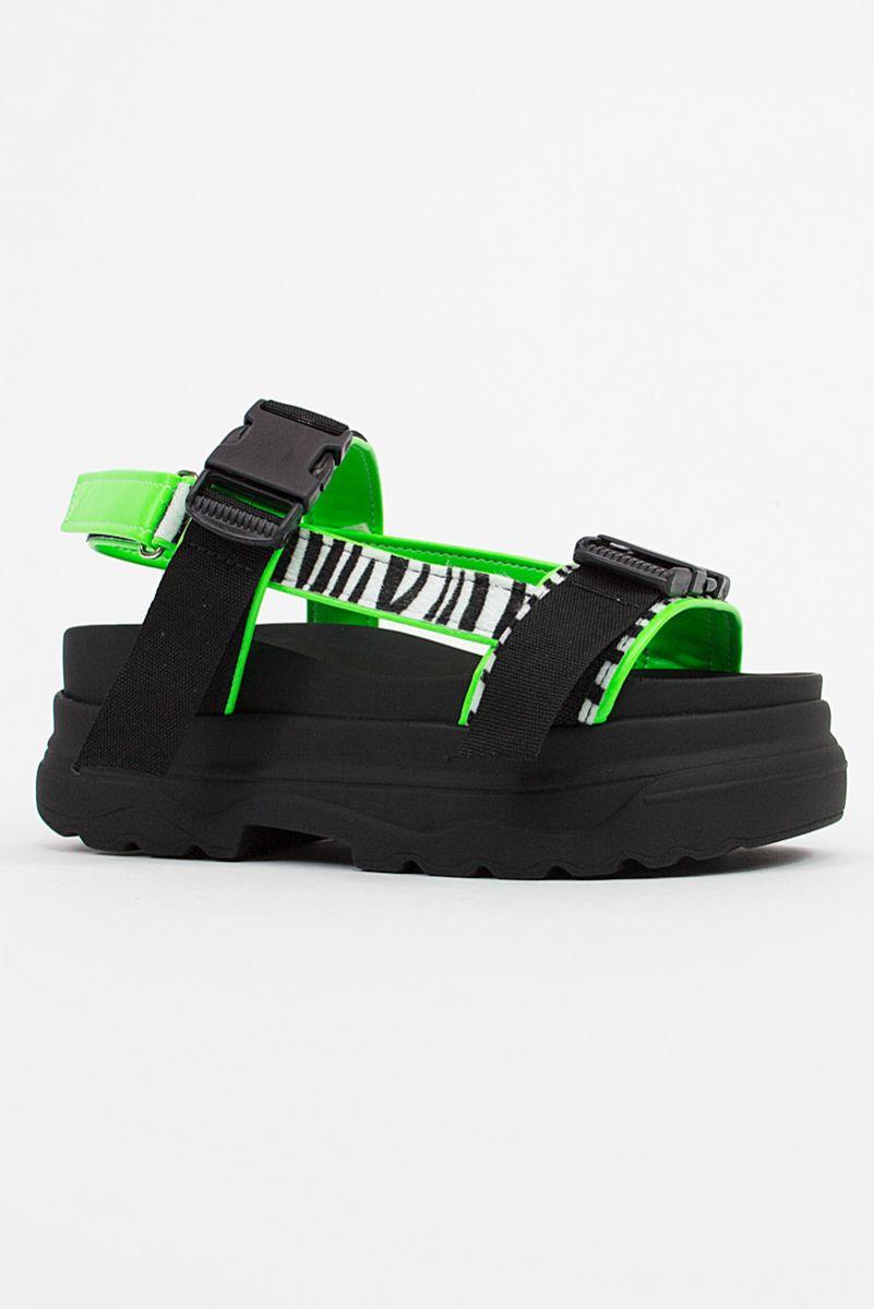Sandalia Papete Chunky - Zebra Verde
