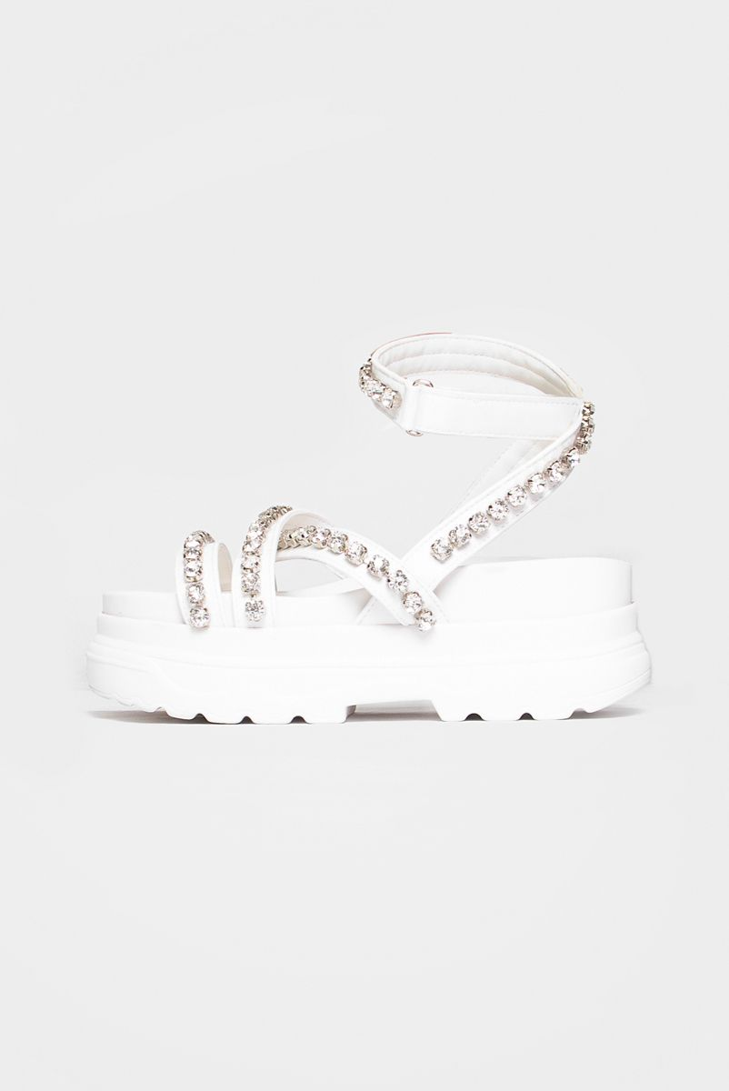 Sandália Branca com Strass Lila