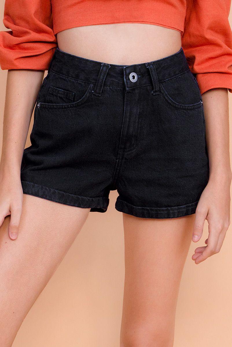 Shorts New Mom Jeans Black