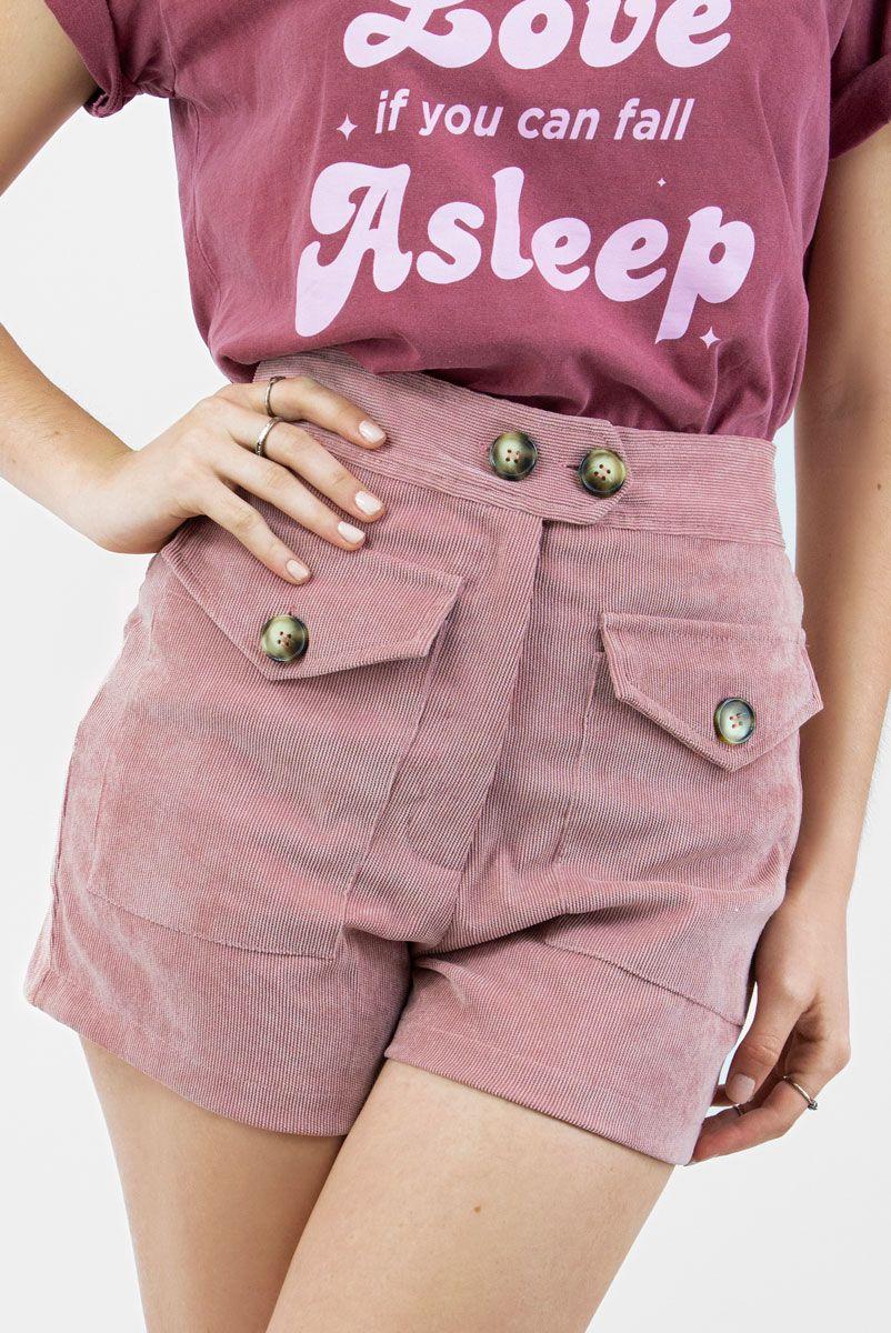 Shorts Veludo Cotelê Rose Dust