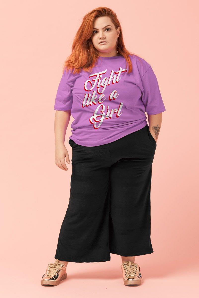 "T-shirt PLUS Orquídea ""Fight Like a Girl"