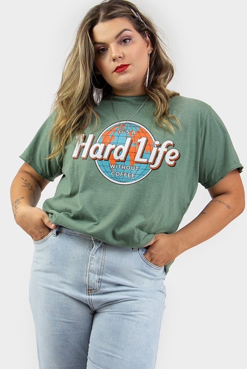 Camiseta T-shirt PLUS Verde Hard Life