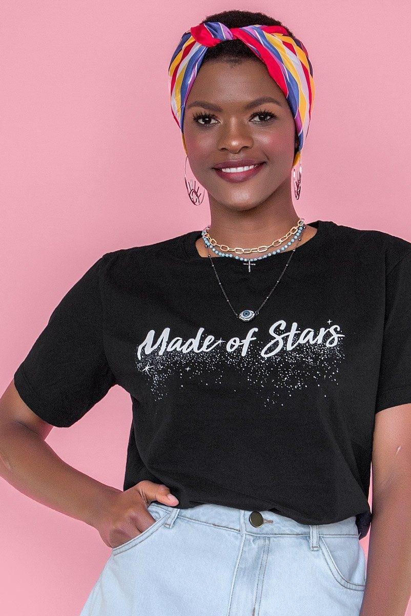 Camiseta T-shirt Preta Made Of Stars
