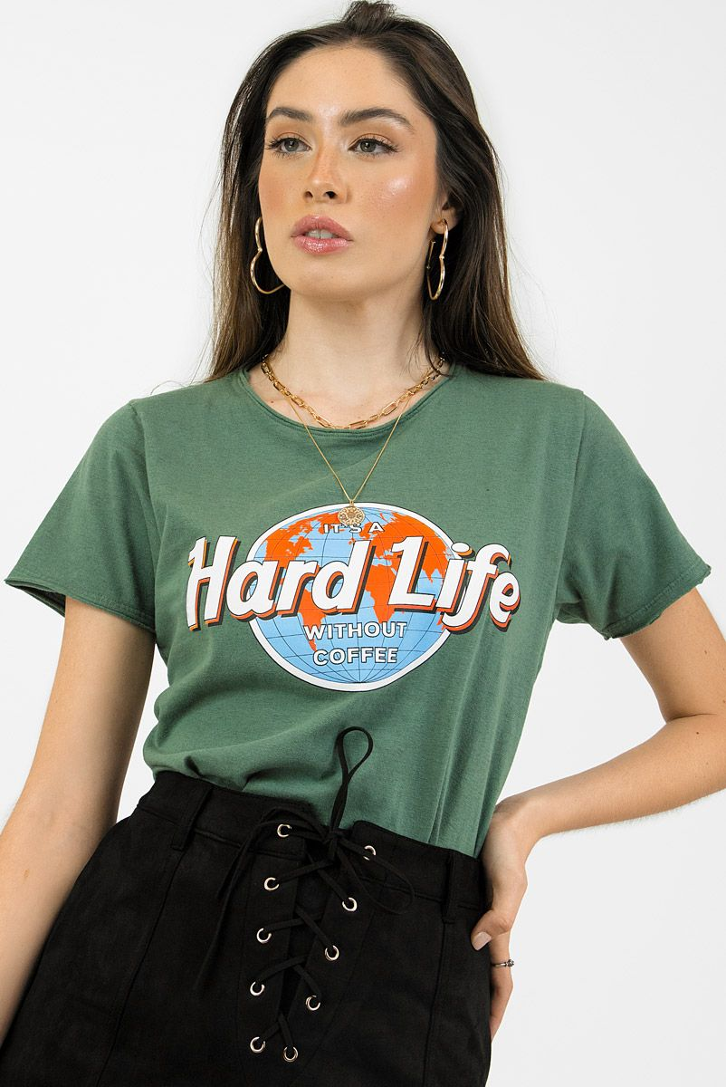 T-shirt Verde Hard Life