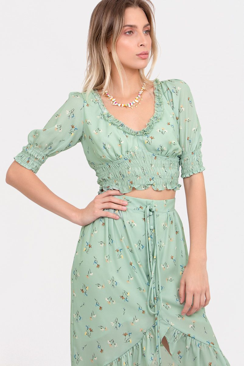 Top Floral Mint Blossom