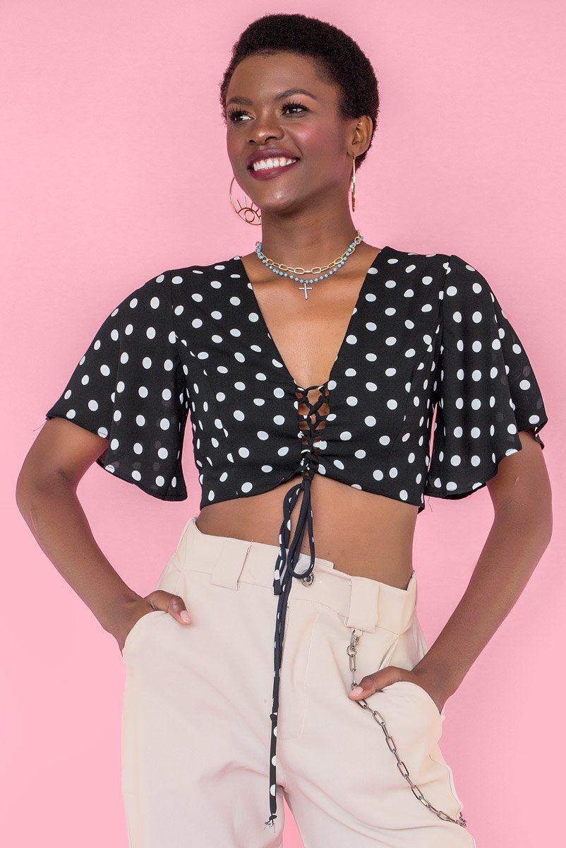 Top Poá Lace-Up Brenda