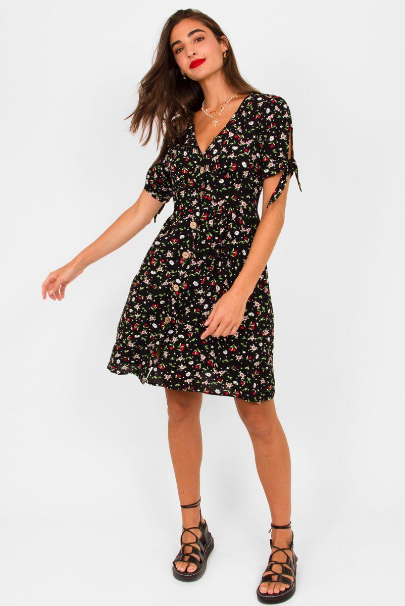 Vestido Floral Sauípe - Preto