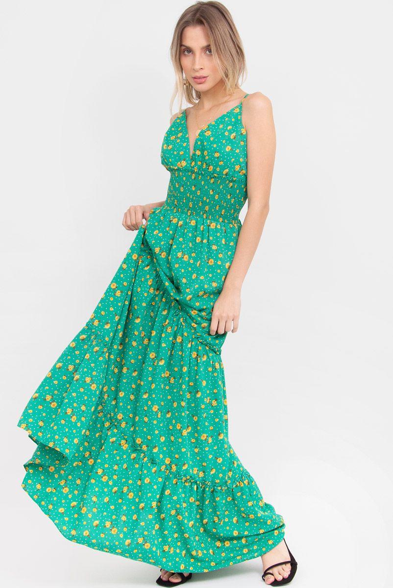Vestido Longo Margarida - Verde