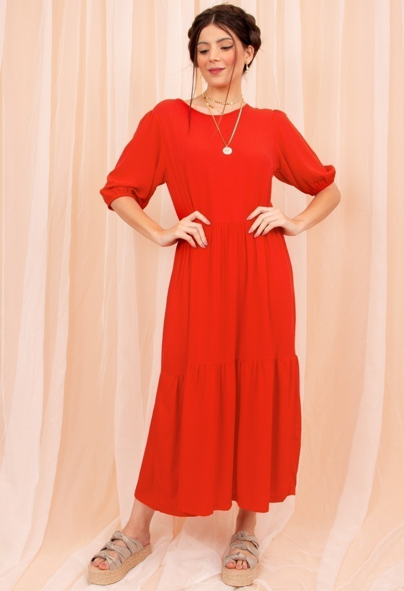 Vestido Midi Marias Vermelho
