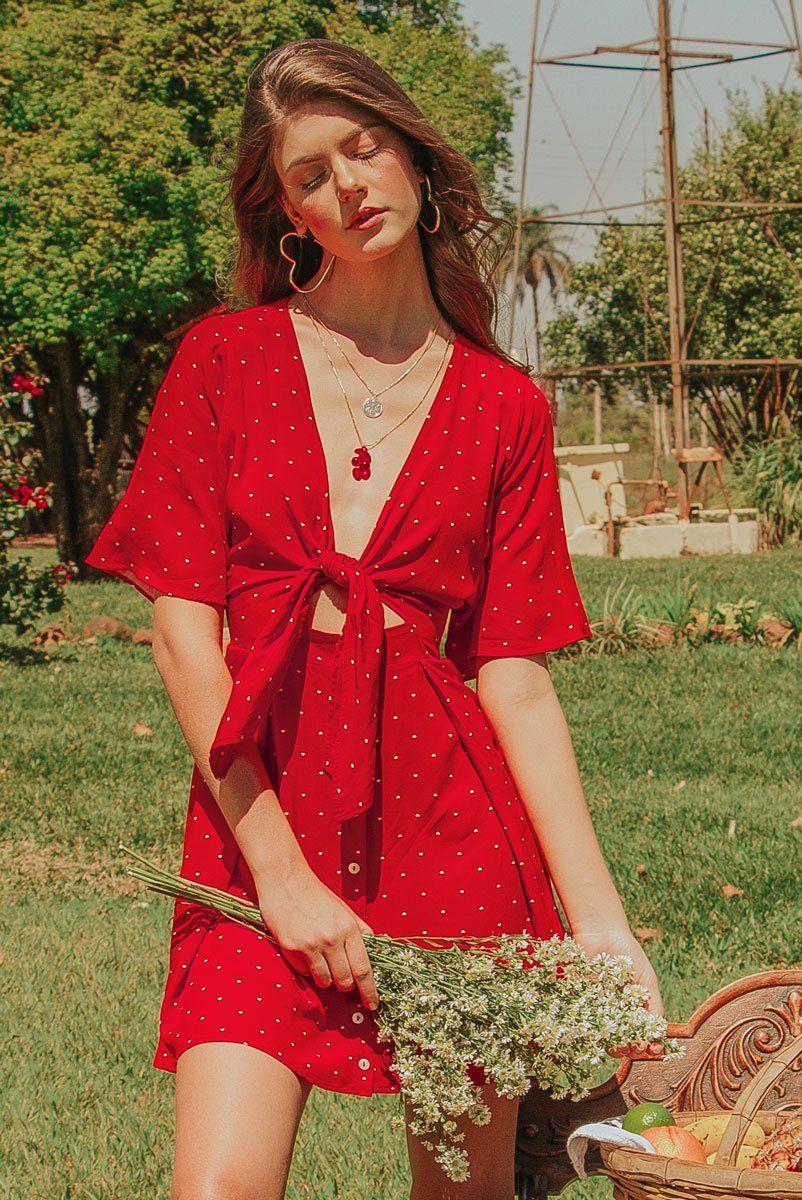 Vestido Vermelho Laço Poá