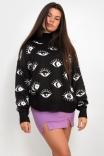 Blusão Tricot Olhinhos - Preto