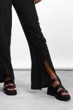 Calça Wide Leg Fenda Preta