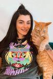 Camiseta Box PLUS Degradê Allergic Gato
