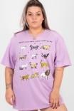 Camiseta T-shirt PLUS Lilás Felinos