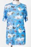 Camiseta Unisex Tule Azul Borboletas