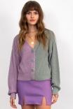 Cardigan Bicolor Menta Lilac