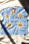 Colete Tricot Margaridas Azul