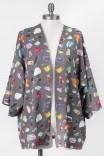Kimono de Amarrar Grafite Pedras