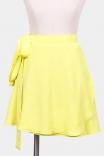 Saia Mini Transpassada Amarelo Lima
