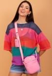 Shoulder Bag Multi Rosa c/ Níquel