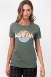 Camiseta T-shirt Verde Hard Life