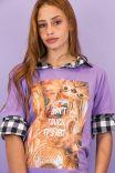 T-shirt Violet Don't Touch It's A Gato