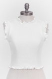Top Crop Frufru Tricot Off White