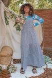 Vestido Longo Camadas Xadrez Vichy