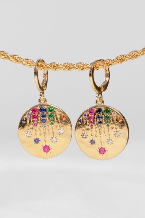 Argolinha SJ Medalha Zirconia Colorida
