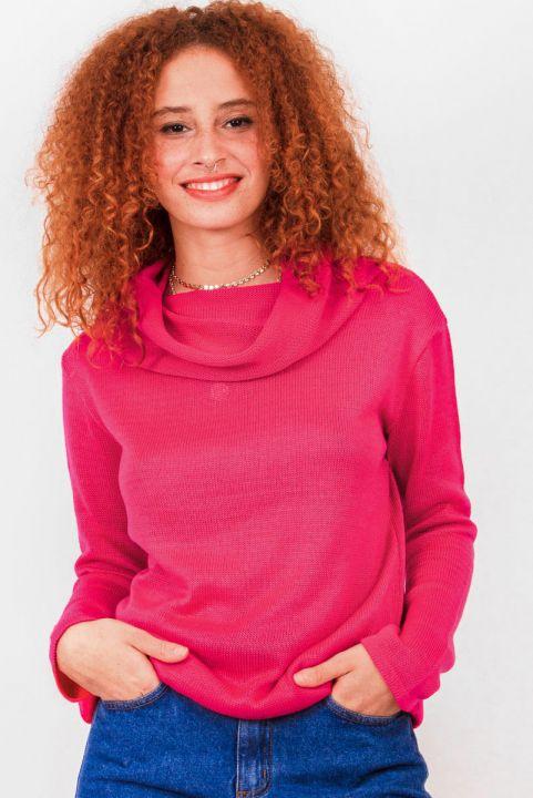 Blusa Alongada Tricot Gola Pink
