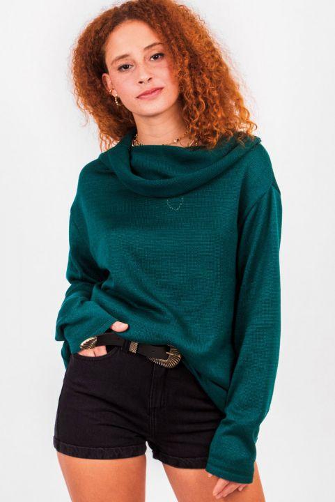 Blusa Alongada Tricot Gola Verde