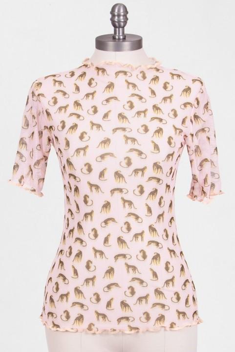 Blusa Baby Tule Leopardos Rosa