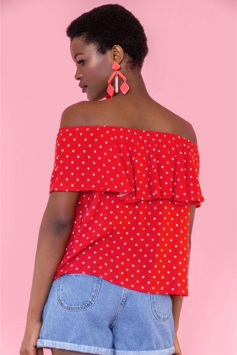 Blusa Ciganinha Poá Vermelho