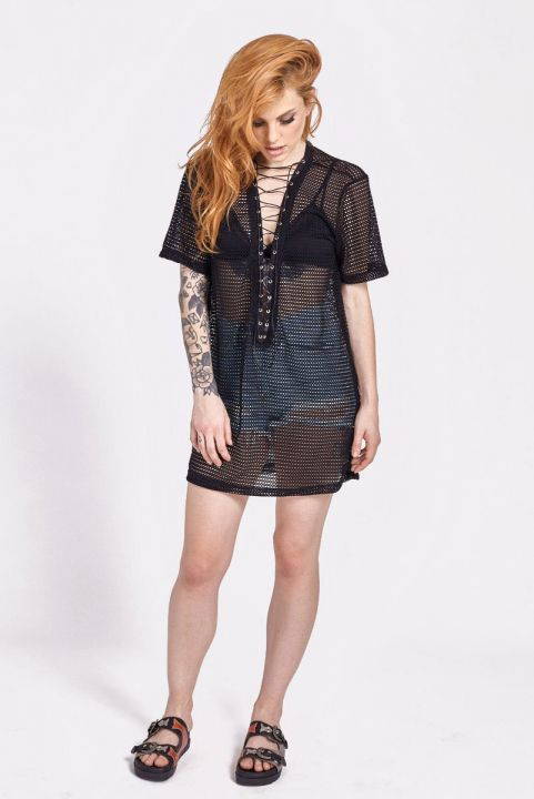 Blusa Tela Mesh Lace-Up Amarril