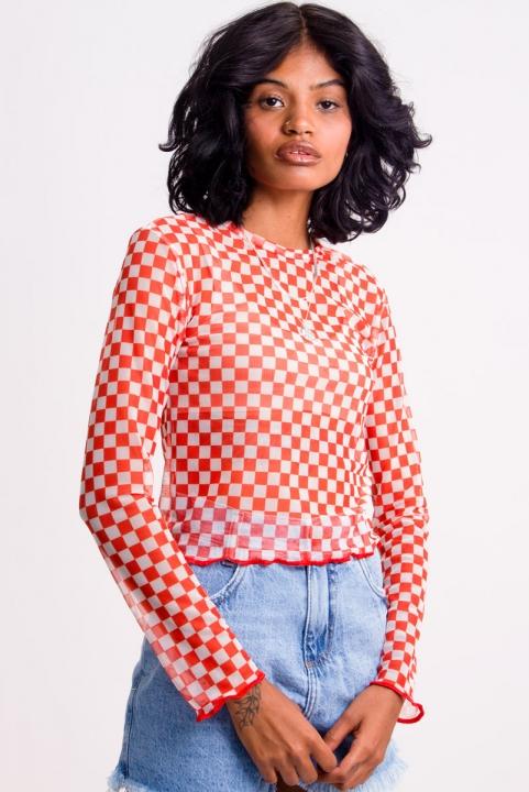 Blusa Tule Checkerboard - Lava