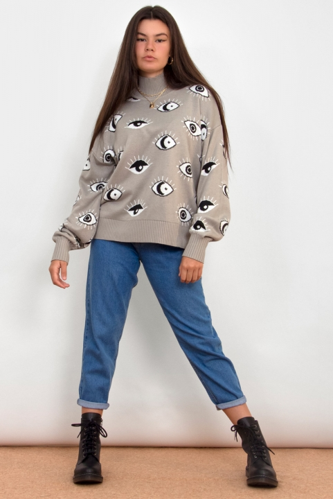 Blusão Tricot Olhinhos - Cinza