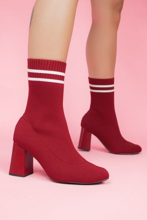 Bota Sock Meia Stretch RED