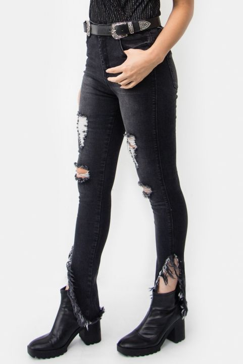 Calça Jeans Barra Desfiada BLK