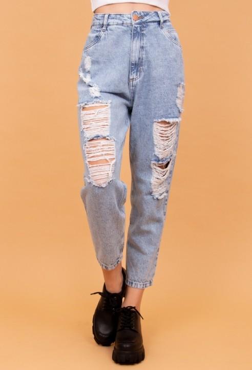 Calça Mom Jeans Destroy Azul