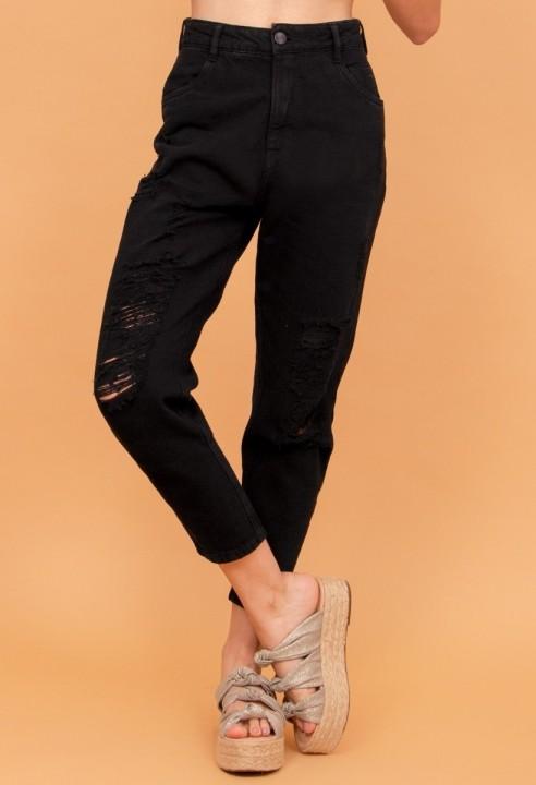 Calça Mom Jeans Destroy Preto