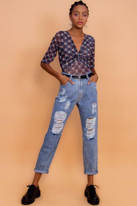 Calça Mom Jeans Destroyed - Azul