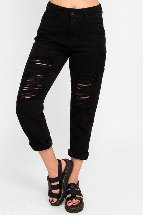 Calça Mom Jeans Destroyed - Preto