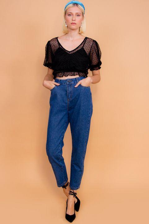 Calça Mom Vintage Jeans Escuro